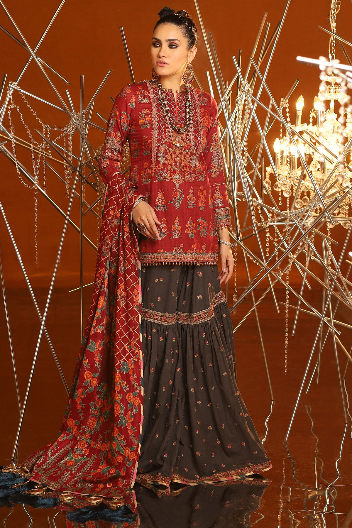 3-Piece-Embroidered-Suit-With-Printed-Chiffon-Dupatta