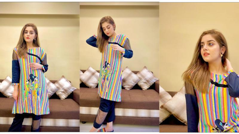 Alizeh-Shah-is-Looking-Stunning-in-a-Multi-Colored-Kurti